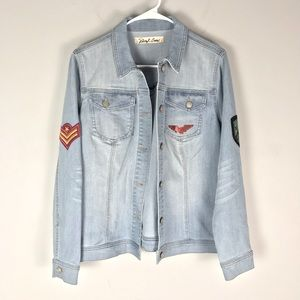Sheryl Crow military patch jean jacket button